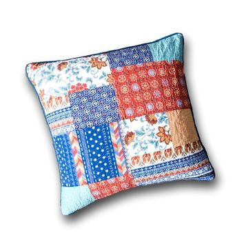 """DaDa Bedding Bohemian Vibes Patchwork Floral Euro Pillow Sham Cover, 26"""" x 26"""" (JHW878)"""