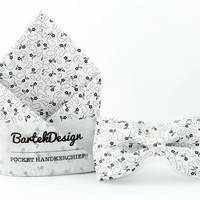 Wedding Set Bow Tie & Pocket Handkerchief White Gray Flowers