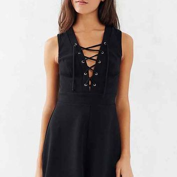 Silence + Noise Lace-Up Sleeveless Romper