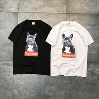 """Supreme"" Unisex Loose Casual Fashion Dog Letter Pattern Print Couple Short Sleeve T-shirt Top Tee"