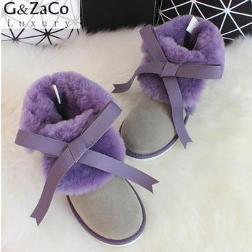G&Zaco Luxury Sheepskin Snow Boots Women Genuine Leather Short Strap Sweet Ankle Boots Winter Wool Sheep Fur Boots Flats