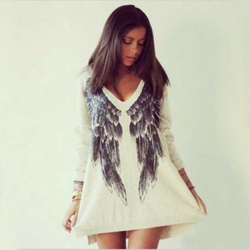 2015 Brand New Angel Wings Hoodies Sweatshirt Women Autumn Summer Long Sleeve Print Tee V neck wing pattern shirt