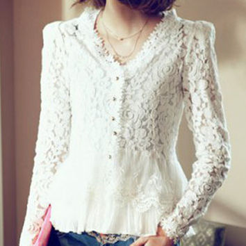 White Lace Shirt Blusas Femininas Crochet Floral Shirt Long Sleeve Hollow Out Women Blouses Plus Size PE3477*50