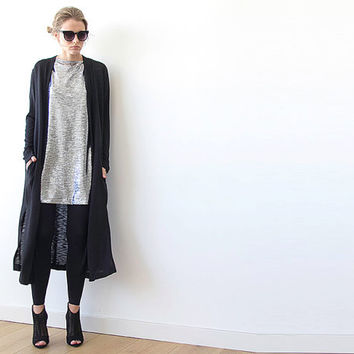 Knitted maxi black cardigan with pockets , Black maxi knit coat