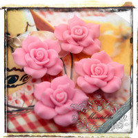 6 PCS X 40mm Big Polymer Clay Pink Rose Cabochon with Matte Finish Resin Flat Back -Decoden Scrapbooking Craft Supplies (FL05P)