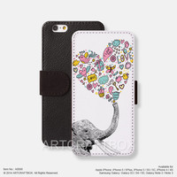 Elephant heart pattern iPhone Samsung Galaxy leather wallet case cover 098