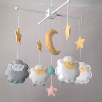 Baby Mobile - Sheep and Stars Mobile - Cot Mobile - Nursery Decor -  Baa baa black sheep mobile