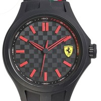 Men's Scuderia Ferrari 'Pit Crew' Silicone Strap Watch, 45mm