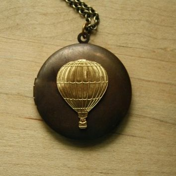 Vintage Hot Air Balloon Locket, Air Balloon Pendant, Unique Necklace, Long Pendant Necklaces, Dark Chain, Two Tone Metal Jewelry
