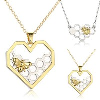 Womens Necklace Heart Gold/Silver Color Honeycomb Bee- Ships Free