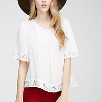 Pintucked Floral-Embroidered Top