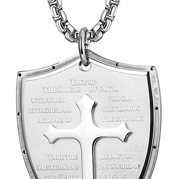 Stainless Steel Cross Pendant Necklace for Men Faith Necklace Shield Armor of God Ephesians 6:16-17 Engraved 24 Inches
