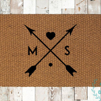 Hipster Style Custom Couple's Initials Coir Doormat, Decorative Area Rug, Hand Painted Hand Woven, Housewarming Gift