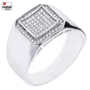 Jewelry Kay style Men's Hip Hop Iced Out Silver Plated CZ Hand Set Double Square Pinky Rings