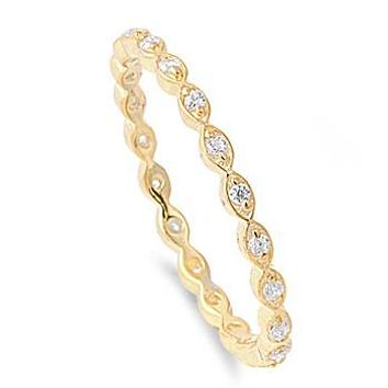 14K Yellow Gold .9TCW Micro Pave Russian Lab Diamond Wedding Band Stacking Ring