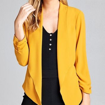 Shirred Sleeve Open Front Jacket + 4 More Colors