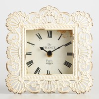 Distressed Ivory Filigree Metal Lucille Clock