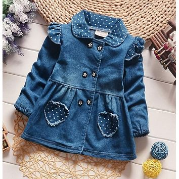 2017 BibiCola Girls Denim Jackets Lovely Heart Protect Dot Baby Outerwear Jackets For Girls Long Sleeve Girls Jeans Jackets Clot