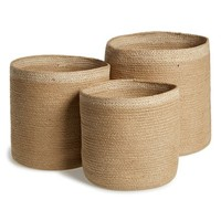 AM Home Textiles Handmade Jute Storage Baskets - Beige (Set of 3)