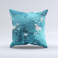 Abstract Blue Paint Splatter Ink-Fuzed Decorative Throw Pillow