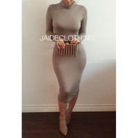 MOCHA Erica Turtleneck Midi Dress - Jaide Clothing