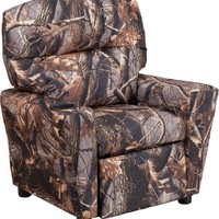Contemporary Camouflaged Fabric Kids Recliner with Cup Holder [BT-7950-KID-CAMO-GG]