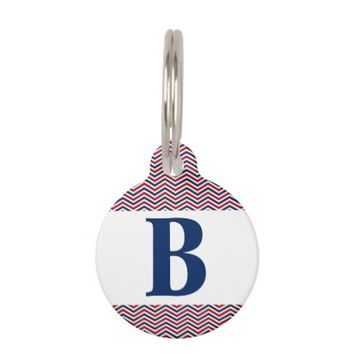 Red White and Blue Chevrons Pet Name Tag