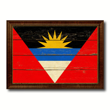Antigua Barbuda Country Flag Vintage Canvas Print with Brown Picture Frame Home Decor Gifts Wall Art Decoration Artwork