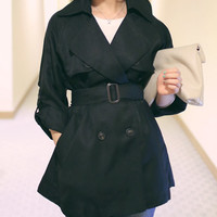 Black trench coat, women blazer, jacket, outwear, belt coat