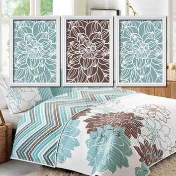 FLOWER Wall Art, BLUE BROWN Bedroom Decor, Canvas or Prints, Bathroom Decor, Floral Bedroom Pictures, Set of 3, Matching Home Decor Pictures