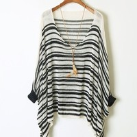 A 092535 Bat sleeve striped sweater