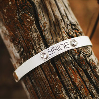 "Ash & Ash Donna Jo Quote Cuffs, ""Bride"""
