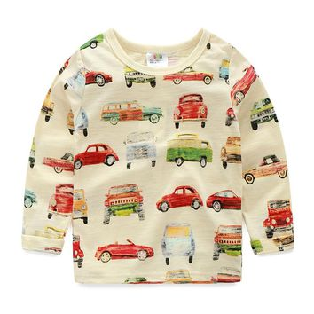 Spring Autumn Cars Full Printed Boys T Shirts Long Sleeves Casual Kids Clothes Baby Tops Tee 2018 T1/6557DBO
