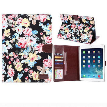 Floral Print Leather Smart Tablet Cover Case
