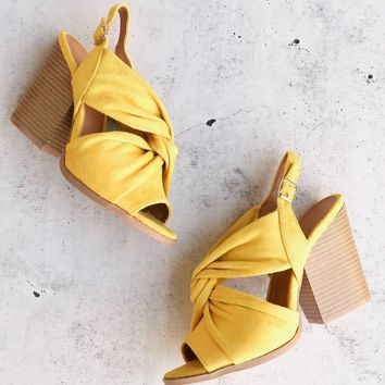 knot your basic pair slingback ankle strap wooden heel sandal in yellow suede