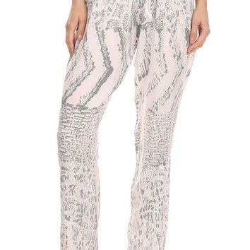 Abstract Tribal Print Full Length Relaxed Fit Pants with High Elastic Drawstring Waist