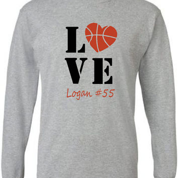 Basketball mom shirt personalized with player's name and number.  Long Sleeve.  Basketball love.