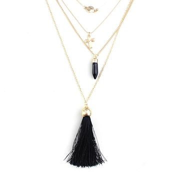 Punk Cross Bullet Tassel Pendant Multilayer Necklace Women 2017 Summer Necklaces Pendants With Gold Chain Jewelry SNE160077