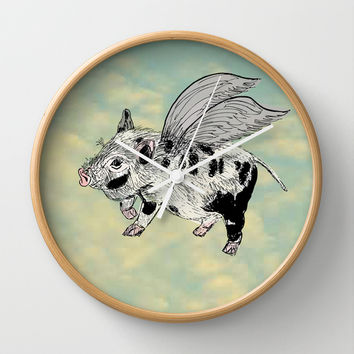 Pigs on the wing (Analog zine) Wall Clock by Kanika Mathur