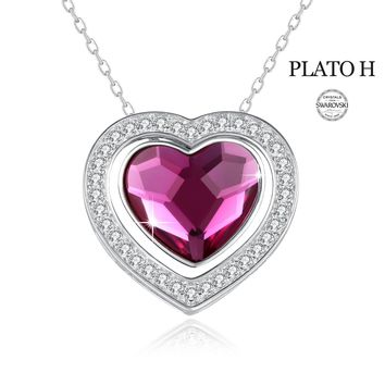 "Heart Necklace PLATO H ""Forever Love"" Sterling Silver Double Heart Necklace Warm Red/ Champagne Gold Heart Pendant Necklace with Swarovski Crystal - Best Gift for Woman"