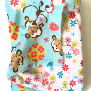Minky Baby Blanket Brown Monkey White Daisy Plush Infant Blanket  GIrl Nursery bedding Infant Carseat Size 29 x 36