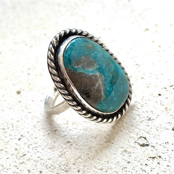 Turquoise Ring, OOAK Campitos Turquoise Silver Ring, Boho Turquoise Ring