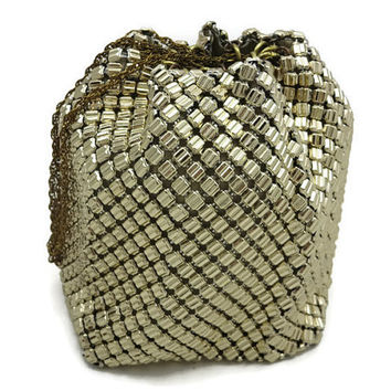 Whiting & Davis Mesh Bag - Unique Molded Mesh, Gold 1940s