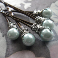 Spring Green- Glass Pearls- Silver- Set of 5- Summer Hair Fashion Accessory- Mother's Day- Birthday- Gift for Her- Teen Girls- Woman