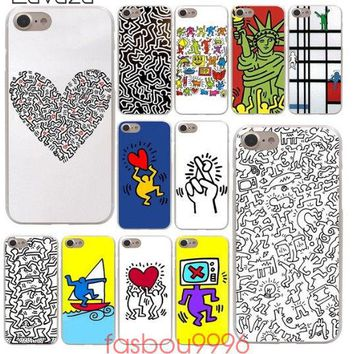 Keith Haring Art for iphone 5 6 7 8 plus x Hard Phone Cover Case