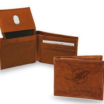 Miami Dolphins Wallet Premium Brown LEATHER BillFold Embossed Bifold Football