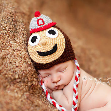 Newborn photo prop, Ohio State Buckeyes newborn/ baby hat.newborn boy, newborn hat, newborn props, photography prop for baby, newborn girl