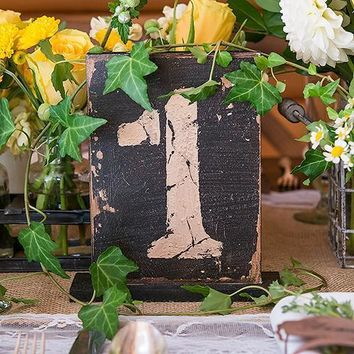 Rustic Self-Standing Table Number And Holders Numbers 13-18 (Pack of 6)
