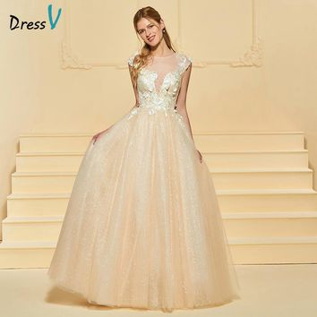 Dressv Long Wedding Dress Scoop Neck Cap Sleeves Tulle A Line Lace Plus Size Elegant 2018 Custom Wedding Gown Wedding Dress