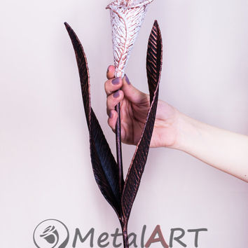 6th Anniversary gift for her - Flower Sculpture Calla Lily/ Iron Anniversary gift, 11th Anniversary gift/ Steel anniversary gift